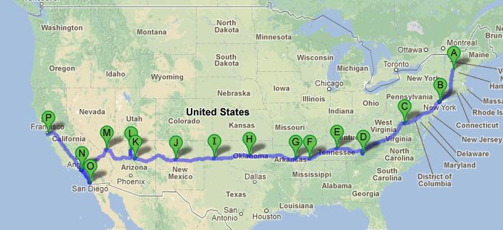 穿越美国路线